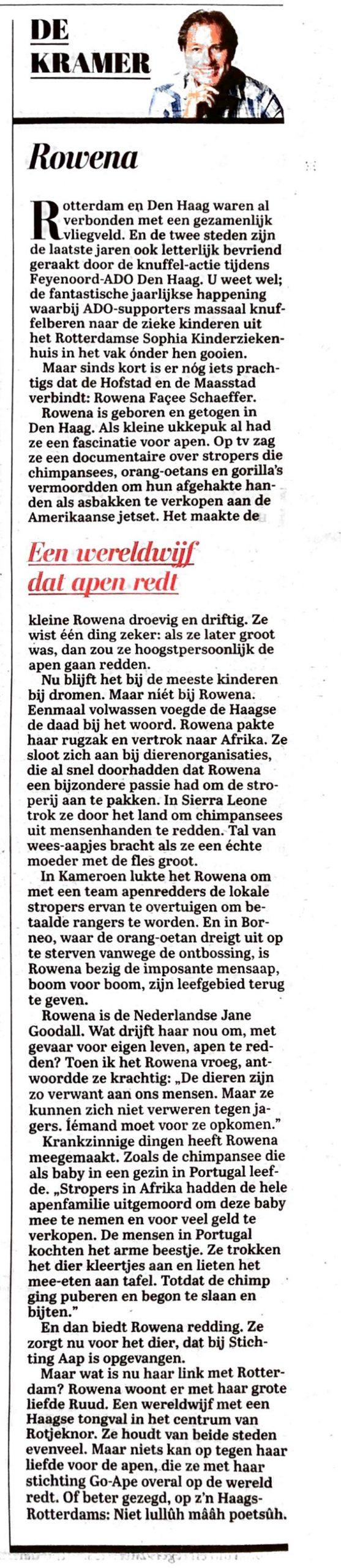 telegraaf, Sander de Kramer over Rowena Goes Ape